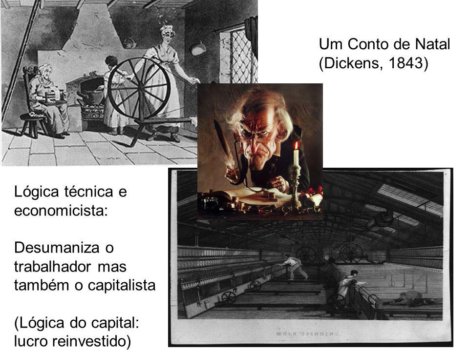 Lógica técnica e economicista: Desumaniza o trabalhador mas também o capitalista (Lógica do capital: lucro reinvestido) Um Conto de Natal (Dickens, 1843)