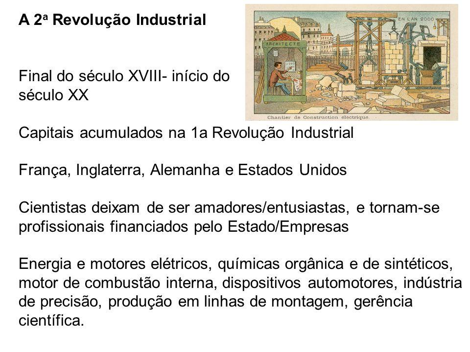 A 2 a Revolução Industrial Final do século XVIII- início do século XX Capitais acumulados na 1a Revolução Industrial França, Inglaterra, Alemanha e Es