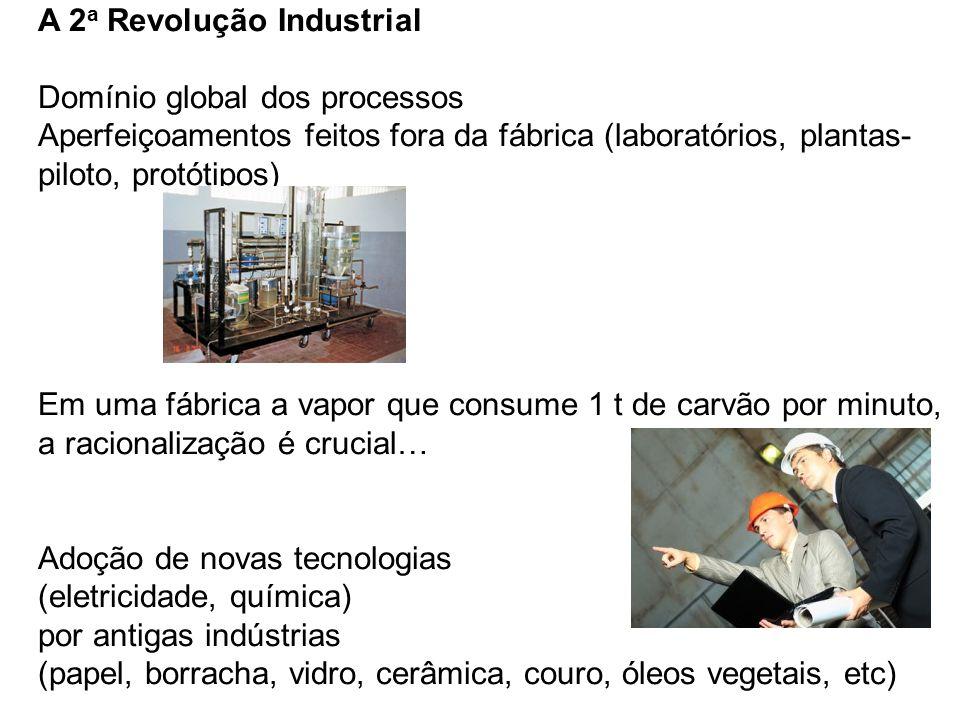 A 2 a Revolução Industrial Domínio global dos processos Aperfeiçoamentos feitos fora da fábrica (laboratórios, plantas- piloto, protótipos) Em uma fáb