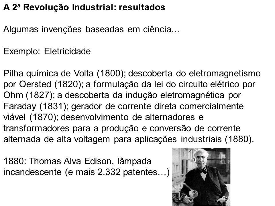 A 2 a Revolução Industrial: resultados Algumas invenções baseadas em ciência… Exemplo: Eletricidade Pilha química de Volta (1800); descoberta do eletromagnetismo por Oersted (1820); a formulação da lei do circuito elétrico por Ohm (1827); a descoberta da indução eletromagnética por Faraday (1831); gerador de corrente direta comercialmente viável (1870); desenvolvimento de alternadores e transformadores para a produção e conversão de corrente alternada de alta voltagem para aplicações industriais (1880).