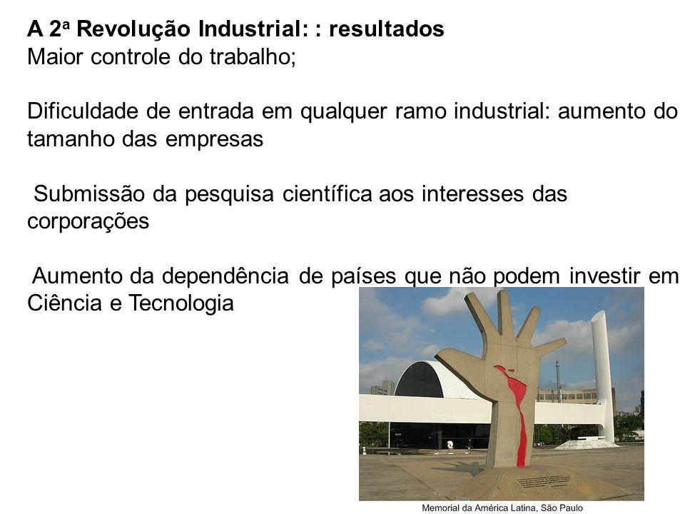 A 2 a Revolução Industrial: : resultados Maior controle do trabalho; Dificuldade de entrada em qualquer ramo industrial: aumento do tamanho das empresas Submissão da pesquisa científica aos interesses das corporações Aumento da dependência de países que não podem investir em Ciência e Tecnologia