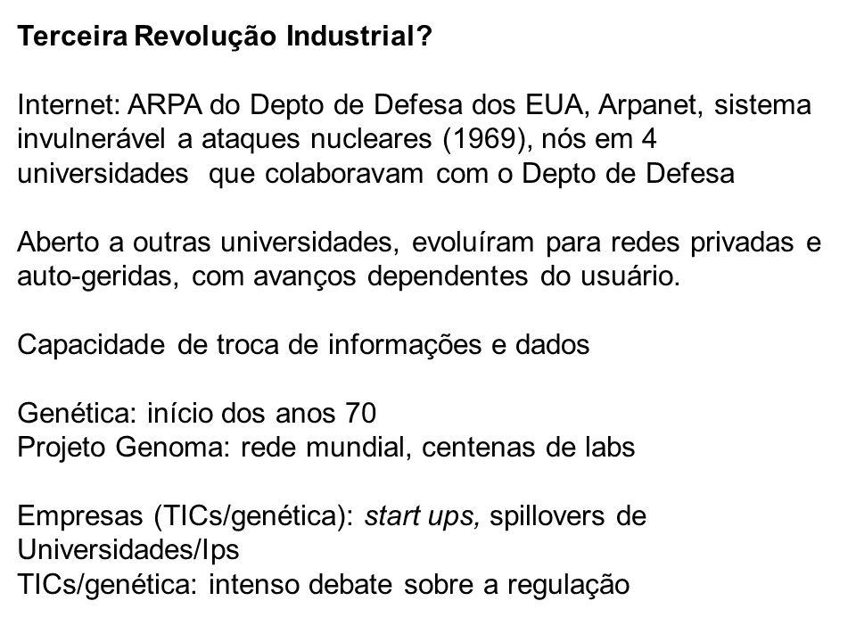 Terceira Revolução Industrial? Internet: ARPA do Depto de Defesa dos EUA, Arpanet, sistema invulnerável a ataques nucleares (1969), nós em 4 universid
