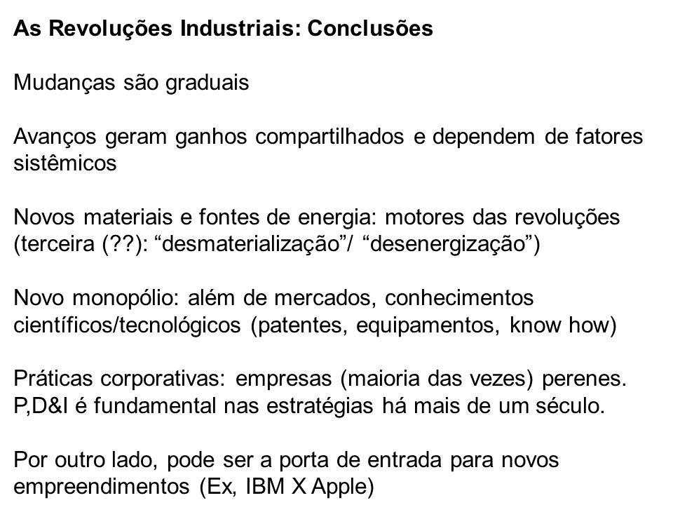 As Revoluções Industriais: Conclusões Mudanças são graduais Avanços geram ganhos compartilhados e dependem de fatores sistêmicos Novos materiais e fon