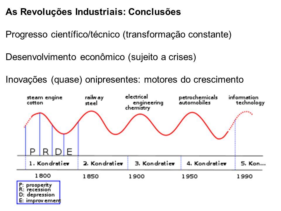 As Revoluções Industriais: Conclusões Progresso científico/técnico (transformação constante) Desenvolvimento econômico (sujeito a crises) Inovações (q