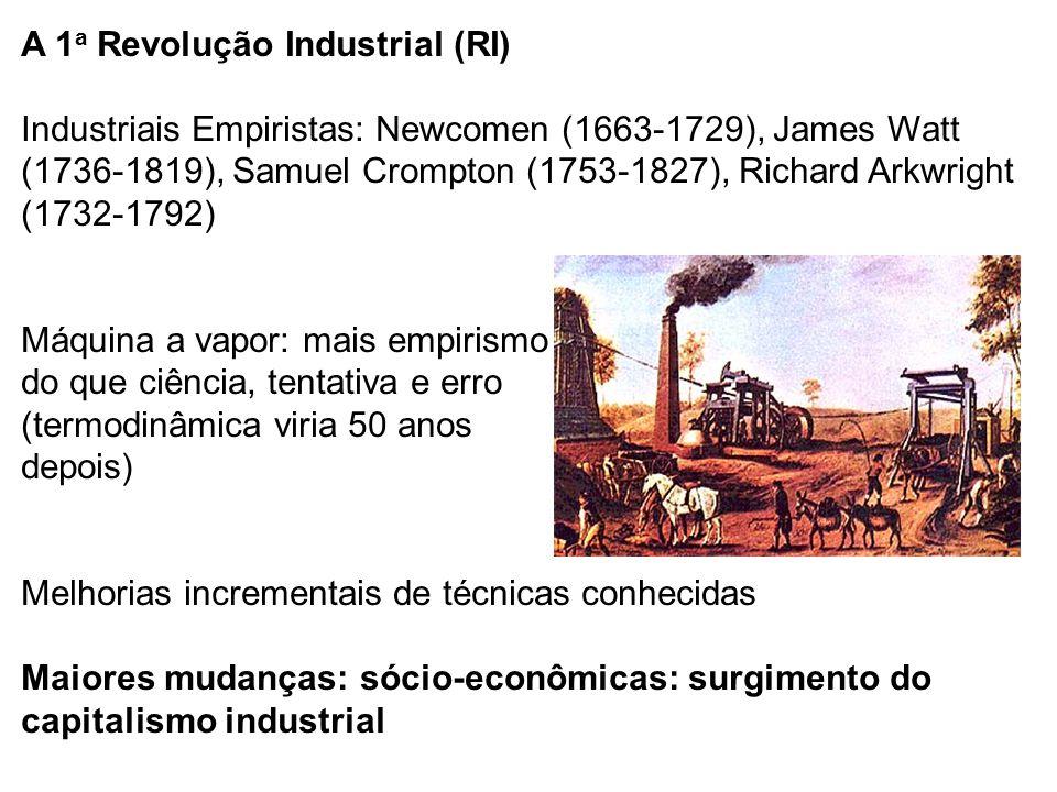 A 1 a Revolução Industrial (RI) Industriais Empiristas: Newcomen (1663-1729), James Watt (1736-1819), Samuel Crompton (1753-1827), Richard Arkwright (1732-1792) Máquina a vapor: mais empirismo do que ciência, tentativa e erro (termodinâmica viria 50 anos depois) Melhorias incrementais de técnicas conhecidas Maiores mudanças: sócio-econômicas: surgimento do capitalismo industrial