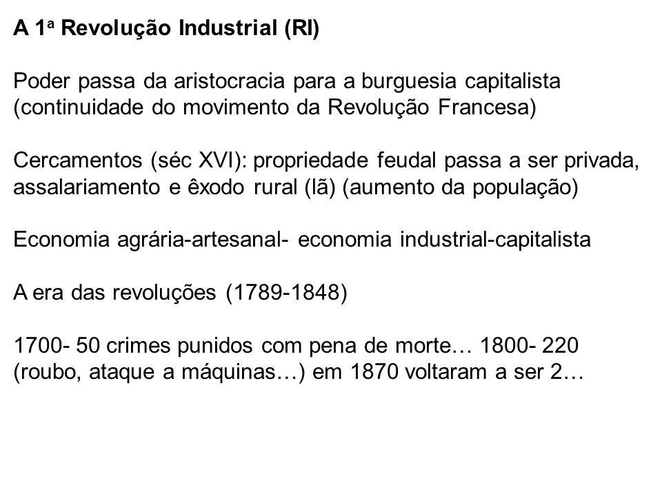 A 1 a Revolução Industrial (RI) Poder passa da aristocracia para a burguesia capitalista (continuidade do movimento da Revolução Francesa) Cercamentos