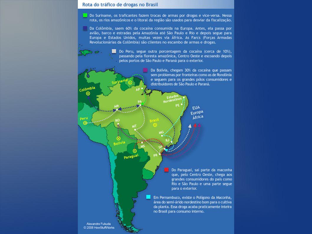 Geográfia do Brasil Faz fronteira com 10 nações, entre elas três produtores grandes de cocaína: Perú, Bolívia e Colômbia (75% da cocaína mundial)