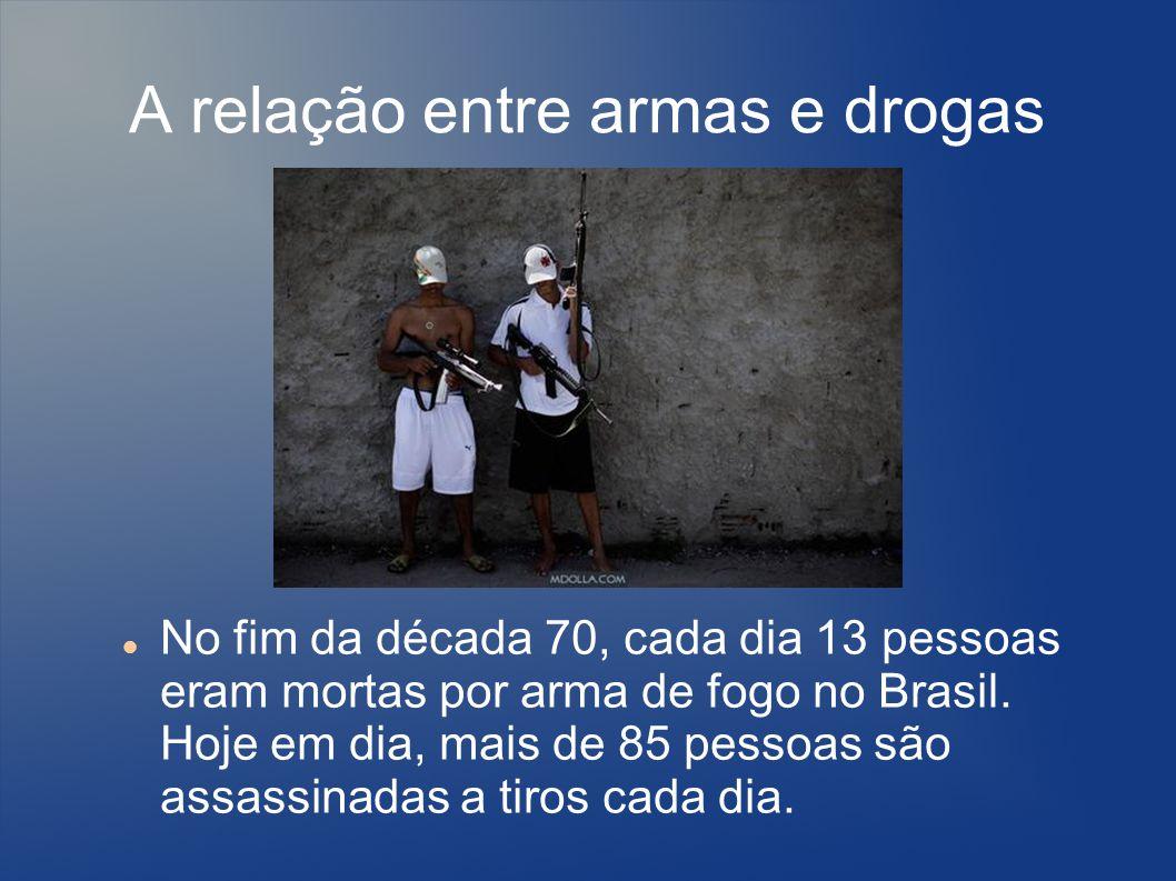 Algumas outras idéias 30.000 homocídios por armas, relacionados ao narcotráfico Somente no Rio, 840 milhões de reais por ano ganhas do narcotráfico.