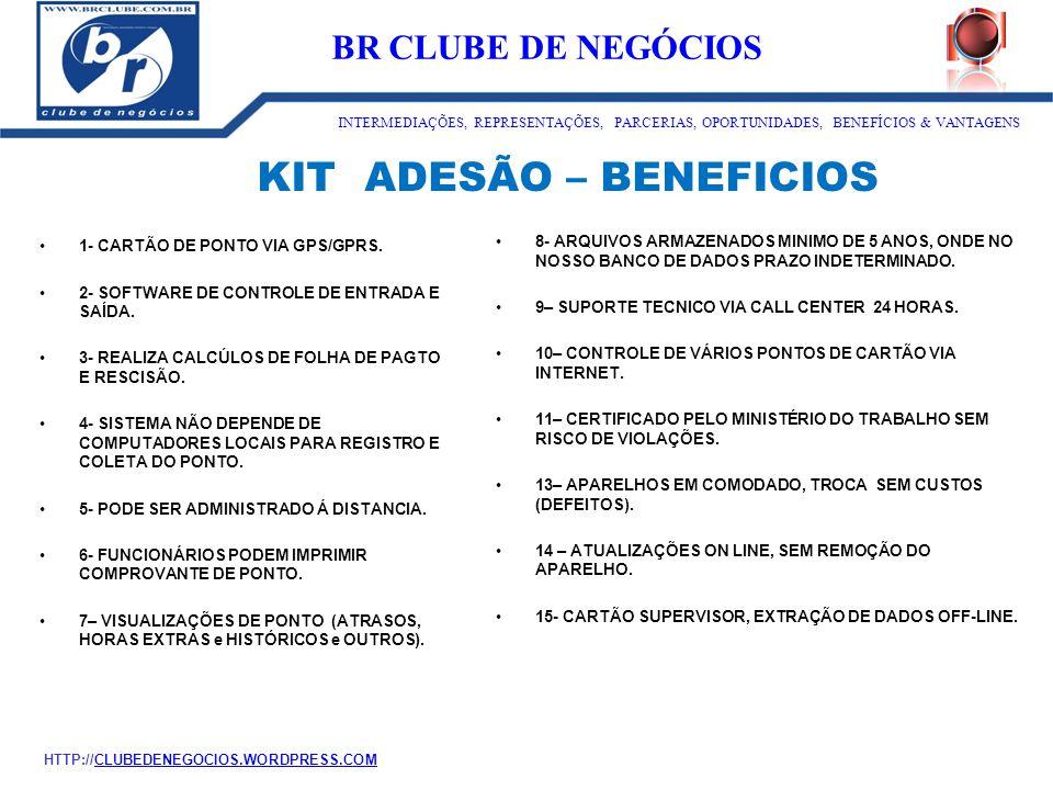 KIT ADESÃO – BENEFICIOS 1- CARTÃO DE PONTO VIA GPS/GPRS. 2- SOFTWARE DE CONTROLE DE ENTRADA E SAÍDA. 3- REALIZA CALCÚLOS DE FOLHA DE PAGTO E RESCISÃO.