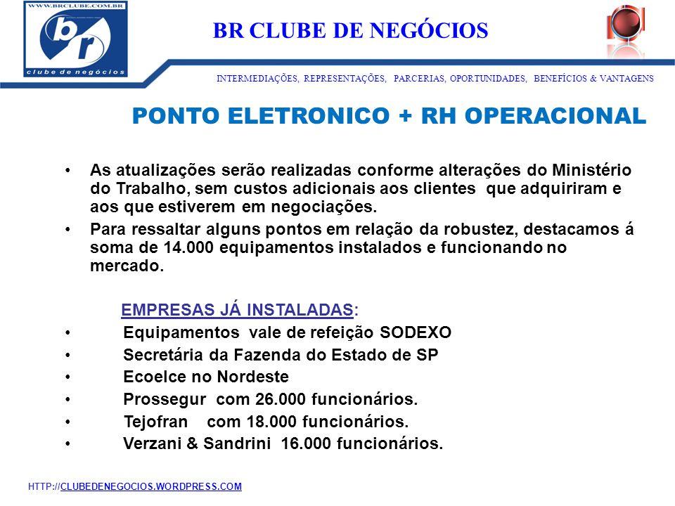 PONTO ELETRONICO + RH OPERACIONAL As atualizações serão realizadas conforme alterações do Ministério do Trabalho, sem custos adicionais aos clientes q