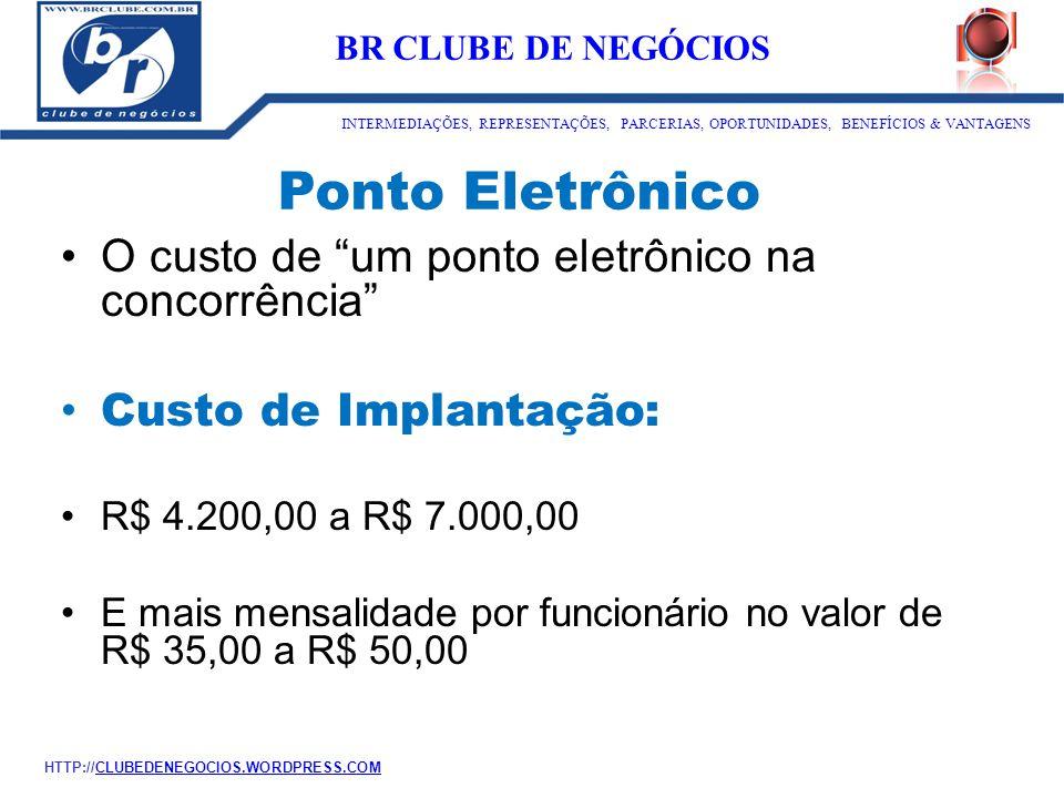 """Ponto Eletrônico O custo de """"um ponto eletrônico na concorrência"""" Custo de Implantação: R$ 4.200,00 a R$ 7.000,00 E mais mensalidade por funcionário n"""