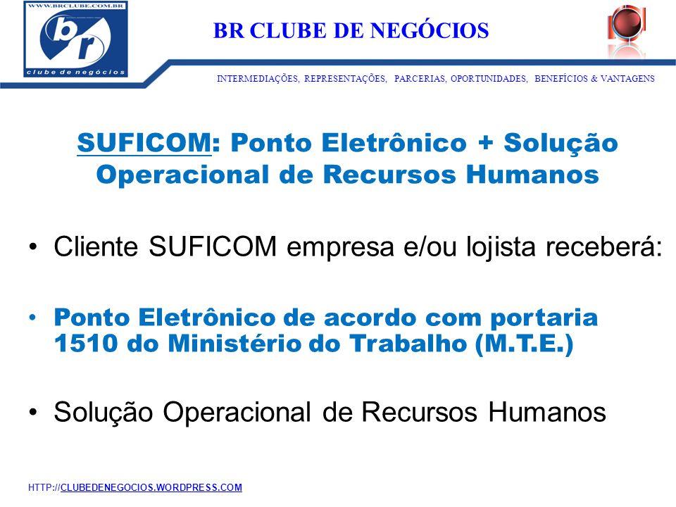 SUFICOM: Ponto Eletrônico + Solução Operacional de Recursos Humanos Cliente SUFICOM empresa e/ou lojista receberá: Ponto Eletrônico de acordo com port