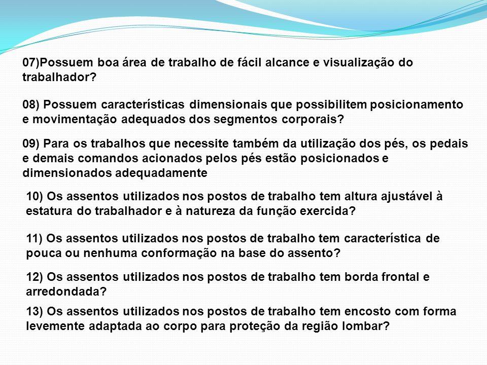 07)Possuem boa área de trabalho de fácil alcance e visualização do trabalhador.