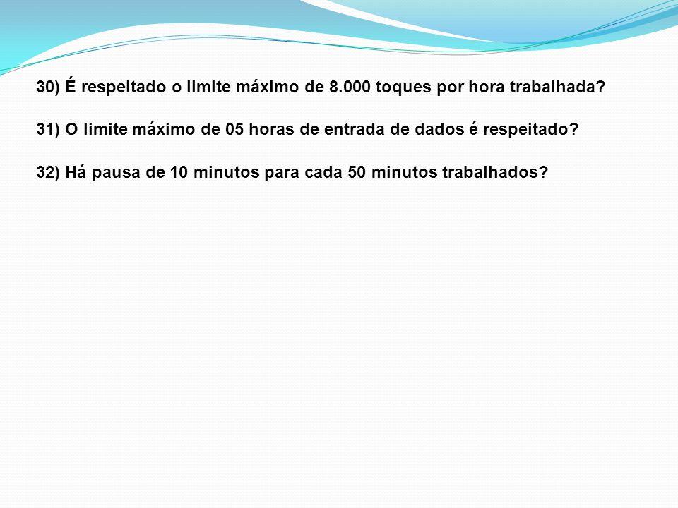 30) É respeitado o limite máximo de 8.000 toques por hora trabalhada.