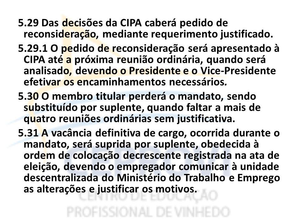 5.29 Das decisões da CIPA caberá pedido de reconsideração, mediante requerimento justificado.
