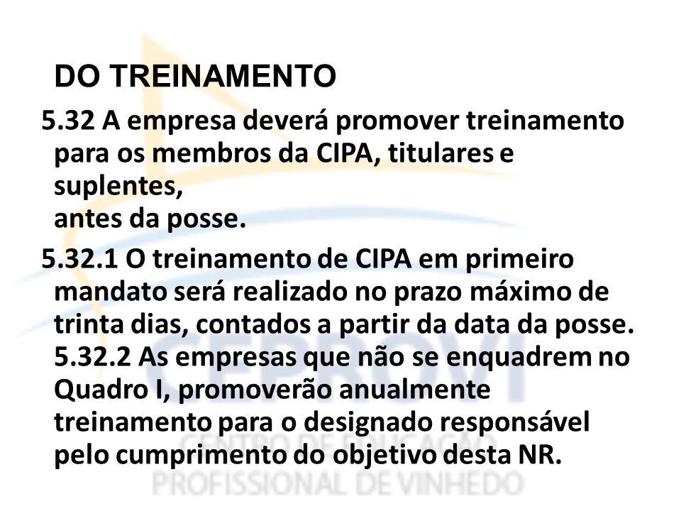 DO TREINAMENTO 5.32 A empresa deverá promover treinamento para os membros da CIPA, titulares e suplentes, antes da posse.