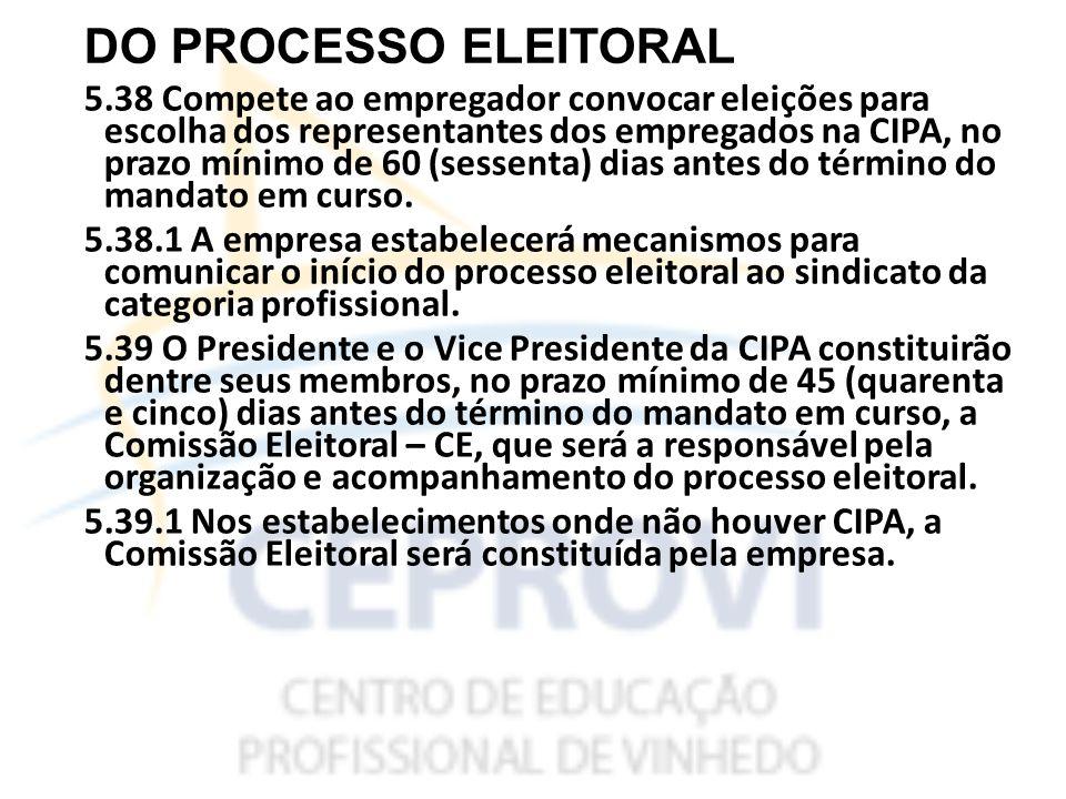 DO PROCESSO ELEITORAL 5.38 Compete ao empregador convocar eleições para escolha dos representantes dos empregados na CIPA, no prazo mínimo de 60 (sessenta) dias antes do término do mandato em curso.