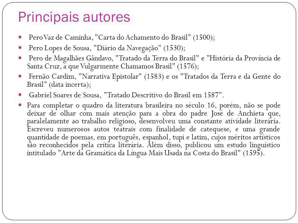 Principais autores Pero Vaz de Caminha, Carta do Achamento do Brasil (1500); Pero Lopes de Sousa, Diário da Navegação (1530); Pero de Magalhães Gândavo, Tratado da Terra do Brasil e História da Província de Santa Cruz, a que Vulgarmente Chamamos Brasil (1576); Fernão Cardim, Narrativa Epistolar (1583) e os Tratados da Terra e da Gente do Brasil (data incerta); Gabriel Soares de Sousa, Tratado Descritivo do Brasil em 1587 .