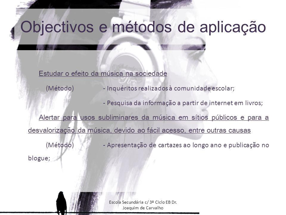 Objectivos e métodos de aplicação Estudar o efeito da música na sociedade (Método)- Inquéritos realizados à comunidade escolar; - Pesquisa da informaç