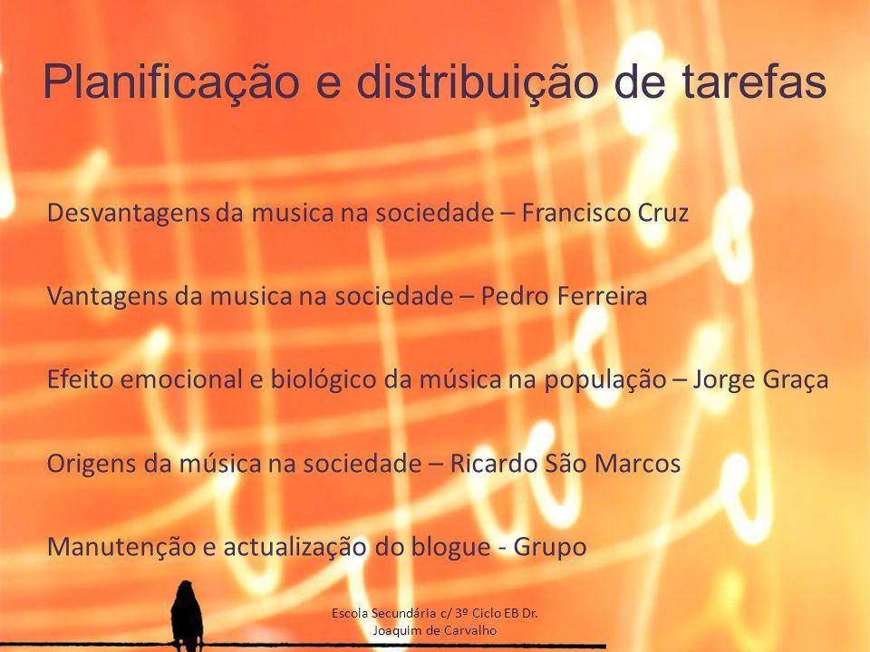 Planificação e distribuição de tarefas Desvantagens da musica na sociedade – Francisco Cruz Vantagens da musica na sociedade – Pedro Ferreira Efeito e