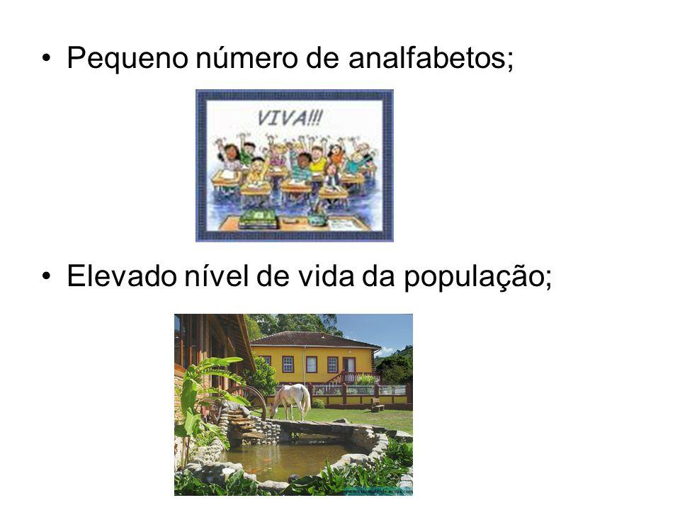 Pequeno número de analfabetos; Elevado nível de vida da população;