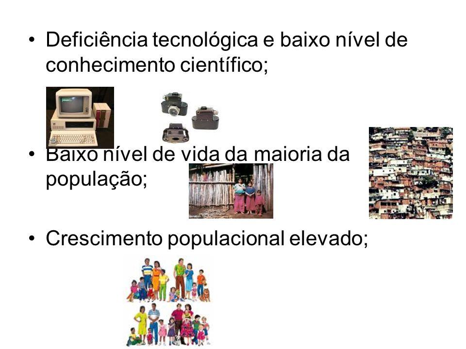 Deficiência tecnológica e baixo nível de conhecimento científico; Baixo nível de vida da maioria da população; Crescimento populacional elevado;