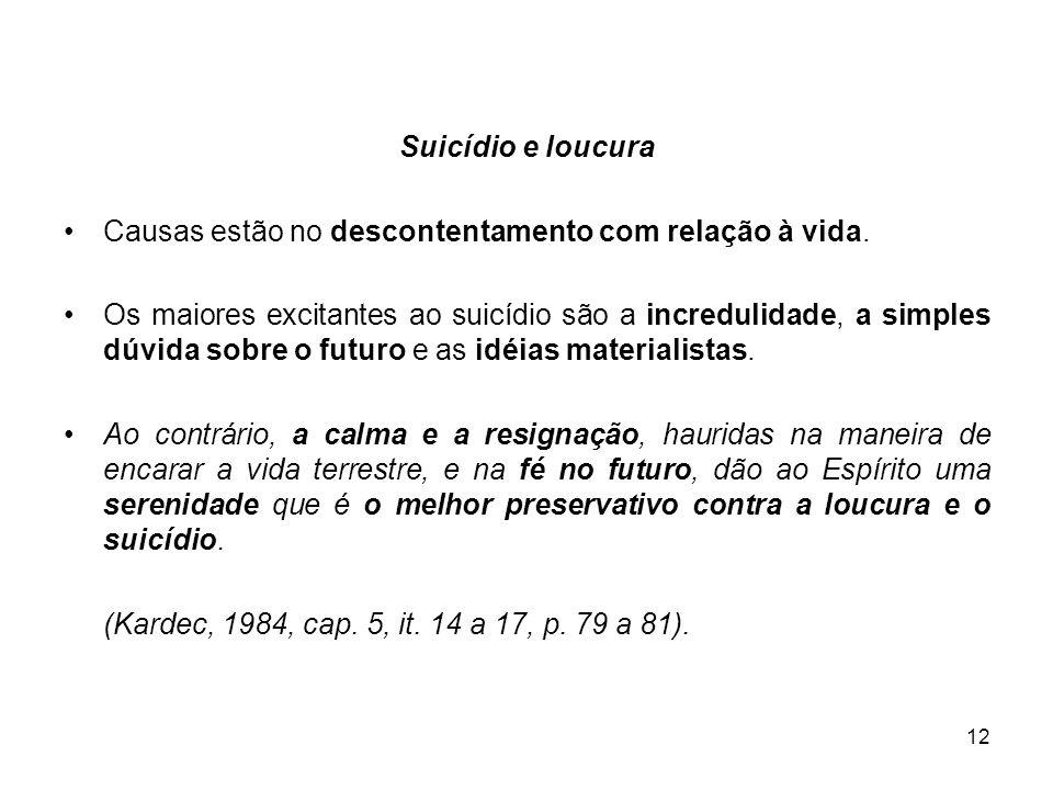 12 Suicídio e loucura Causas estão no descontentamento com relação à vida. Os maiores excitantes ao suicídio são a incredulidade, a simples dúvida sob
