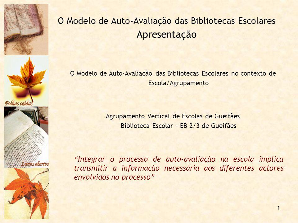 1 O Modelo de Auto-Avaliação das Bibliotecas Escolares Apresentação O Modelo de Auto-Avaliação das Bibliotecas Escolares no contexto de Escola/Agrupam