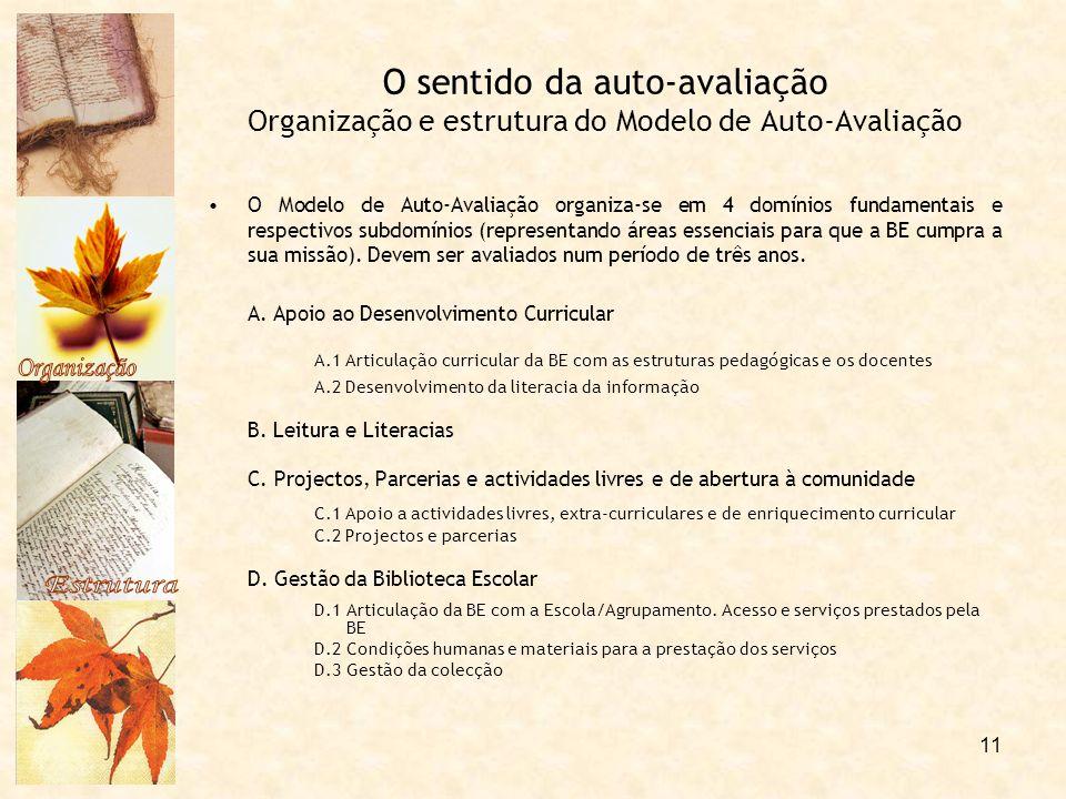 11 O sentido da auto-avaliação Organização e estrutura do Modelo de Auto-Avaliação O Modelo de Auto-Avaliação organiza-se em 4 domínios fundamentais e