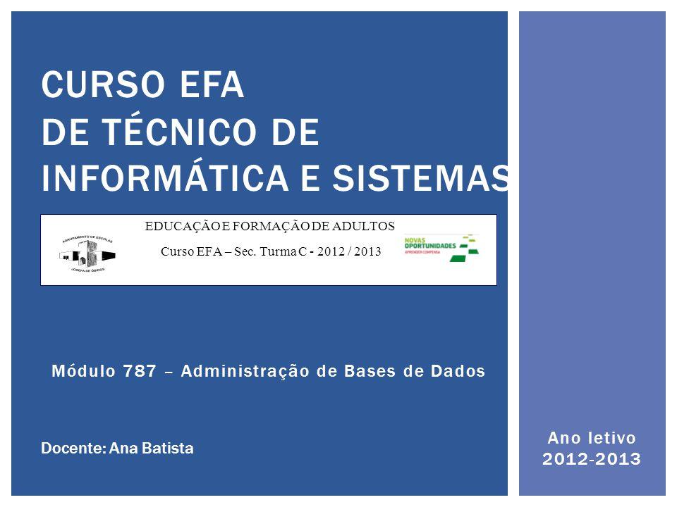 Ano letivo 2012-2013 CURSO EFA DE TÉCNICO DE INFORMÁTICA E SISTEMAS Docente: Ana Batista EDUCAÇÃO E FORMAÇÃO DE ADULTOS Curso EFA – Sec.