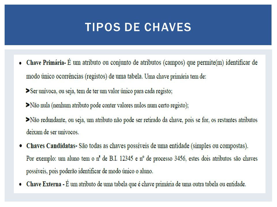 TIPOS DE CHAVES