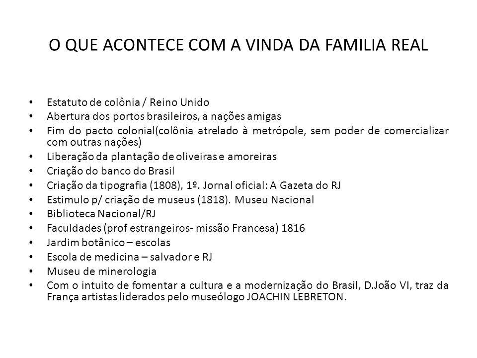 O QUE ACONTECE COM A VINDA DA FAMILIA REAL Estatuto de colônia / Reino Unido Abertura dos portos brasileiros, a nações amigas Fim do pacto colonial(co