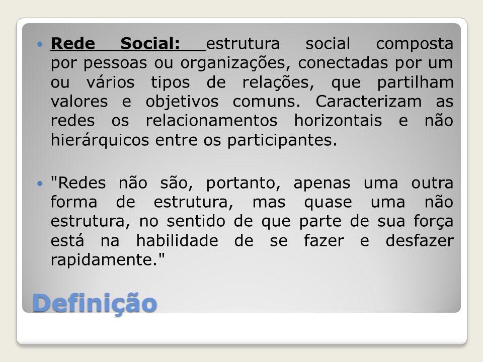 Definição Rede Social: estrutura social composta por pessoas ou organizações, conectadas por um ou vários tipos de relações, que partilham valores e objetivos comuns.