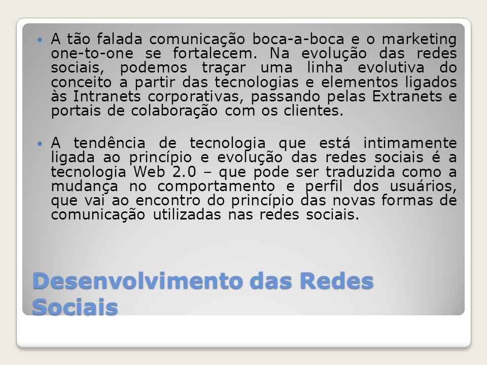 Desenvolvimento das Redes Sociais A tão falada comunicação boca-a-boca e o marketing one-to-one se fortalecem.