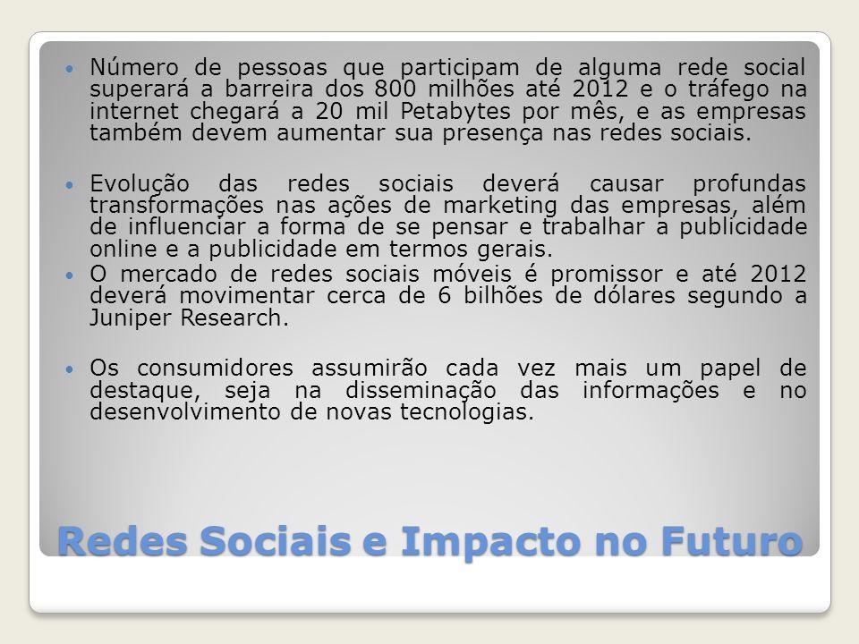 Redes Sociais e Impacto no Futuro Número de pessoas que participam de alguma rede social superará a barreira dos 800 milhões até 2012 e o tráfego na internet chegará a 20 mil Petabytes por mês, e as empresas também devem aumentar sua presença nas redes sociais.