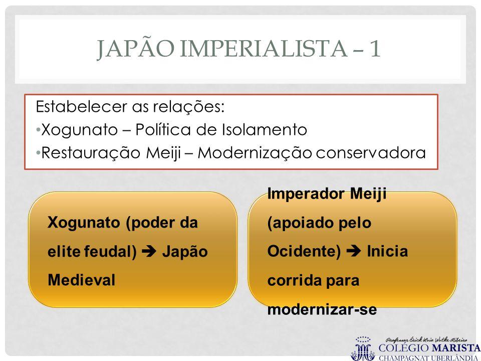 JAPÃO IMPERIALISTA – 1 Estabelecer as relações: Xogunato – Política de Isolamento Restauração Meiji – Modernização conservadora Xogunato (poder da eli