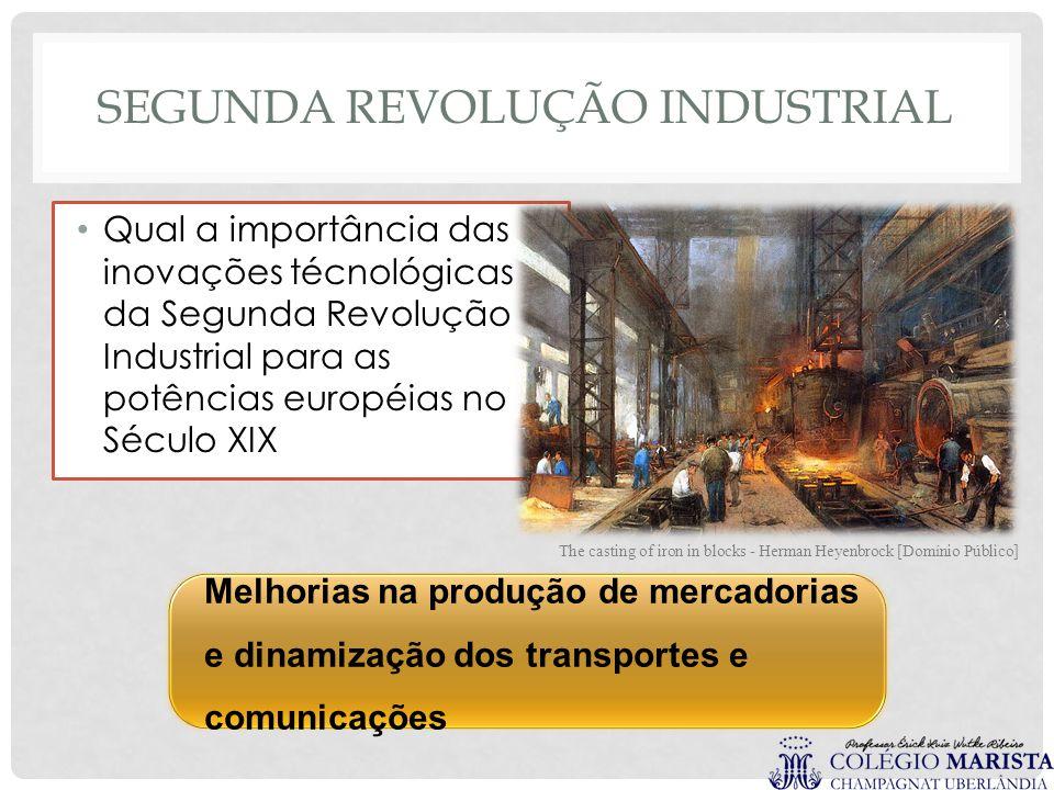 Melhorias na produção de mercadorias e dinamização dos transportes e comunicações SEGUNDA REVOLUÇÃO INDUSTRIAL Qual a importância das inovações técnol
