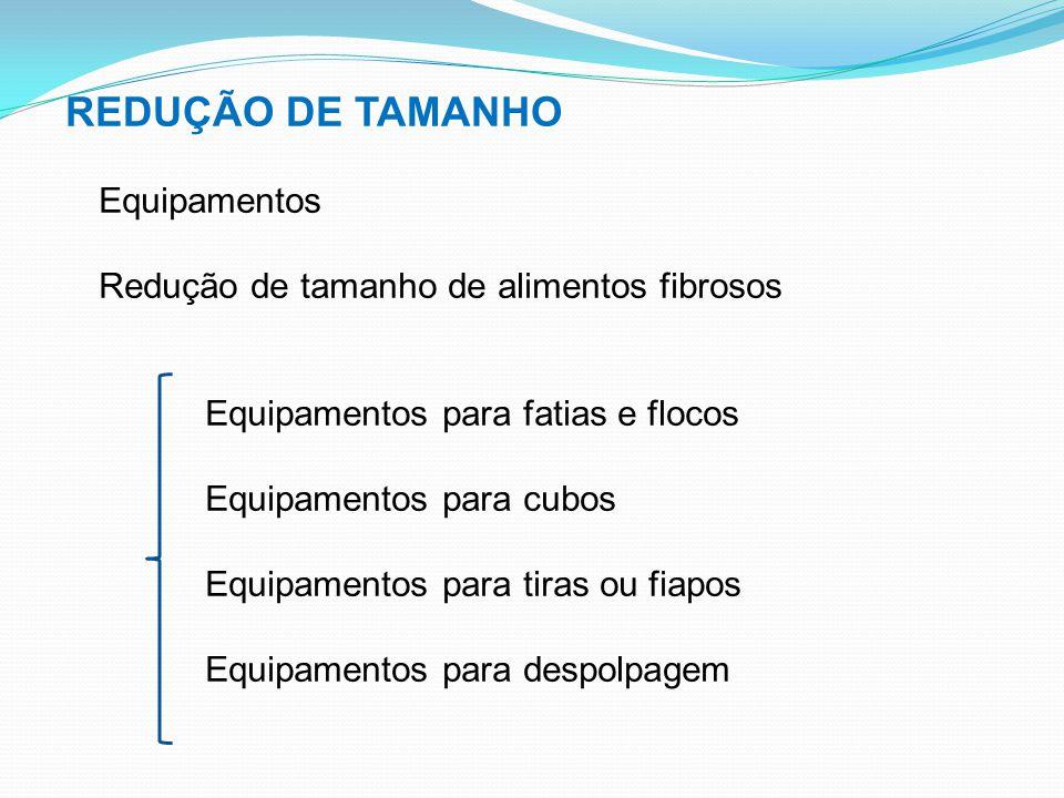 REDUÇÃO DE TAMANHO Equipamentos Redução de tamanho de alimentos fibrosos Equipamentos para fatias e flocos Equipamentos para cubos Equipamentos para t