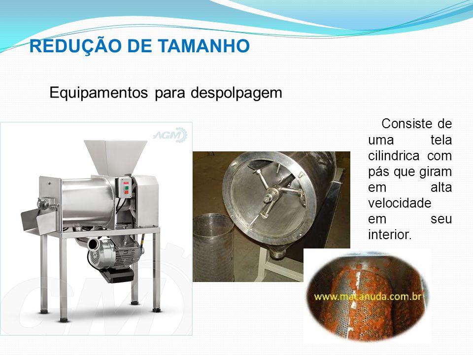 REDUÇÃO DE TAMANHO Equipamentos para despolpagem Consiste de uma tela cilindrica com pás que giram em alta velocidade em seu interior.
