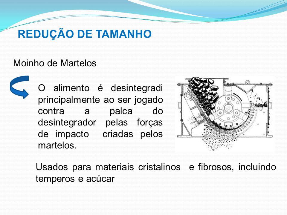 REDUÇÃO DE TAMANHO Moinho de Martelos O alimento é desintegradi principalmente ao ser jogado contra a palca do desintegrador pelas forças de impacto c