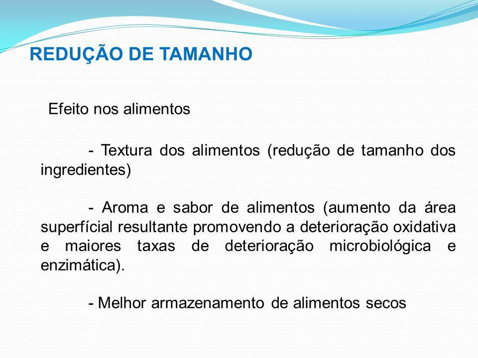 REDUÇÃO DE TAMANHO Efeito nos alimentos - Textura dos alimentos (redução de tamanho dos ingredientes) - Aroma e sabor de alimentos (aumento da área su