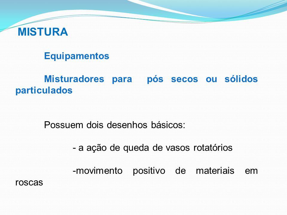 MISTURA Equipamentos Misturadores para pós secos ou sólidos particulados Possuem dois desenhos básicos: - a ação de queda de vasos rotatórios -movimen