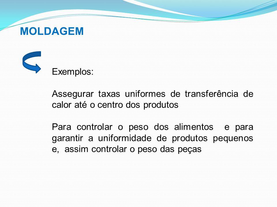 MOLDAGEM Exemplos: Assegurar taxas uniformes de transferência de calor até o centro dos produtos Para controlar o peso dos alimentos e para garantir a