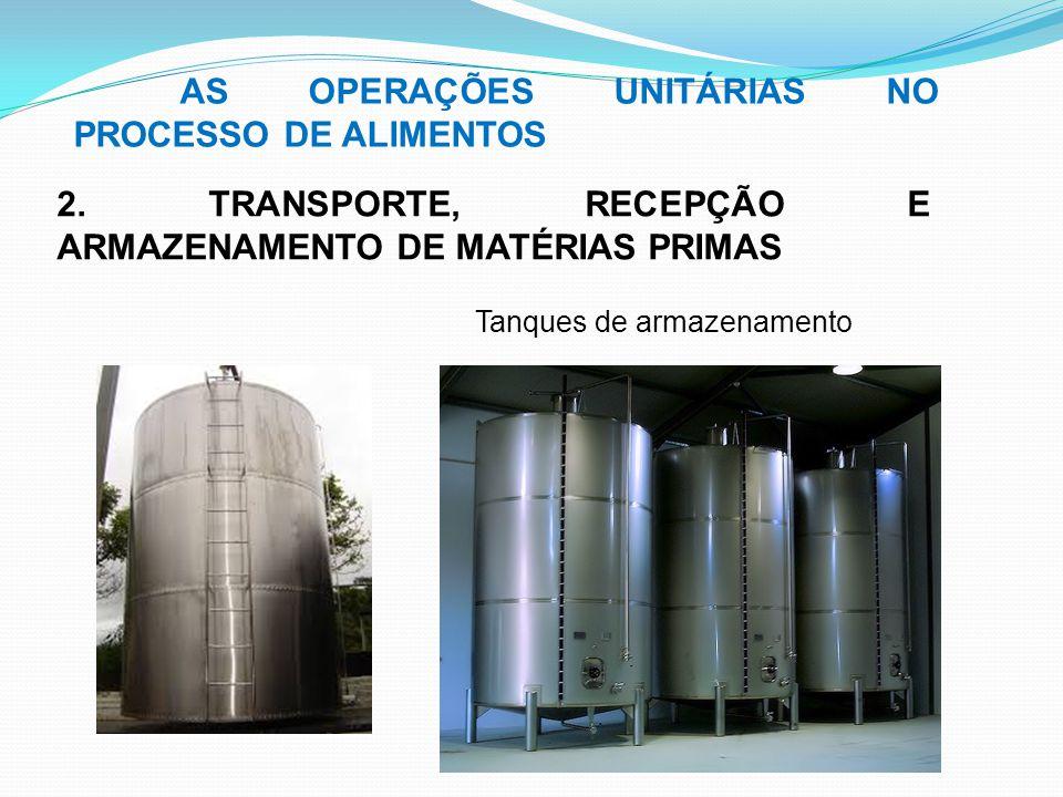 AS OPERAÇÕES UNITÁRIAS NO PROCESSO DE ALIMENTOS 2. TRANSPORTE, RECEPÇÃO E ARMAZENAMENTO DE MATÉRIAS PRIMAS Tanques de armazenamento
