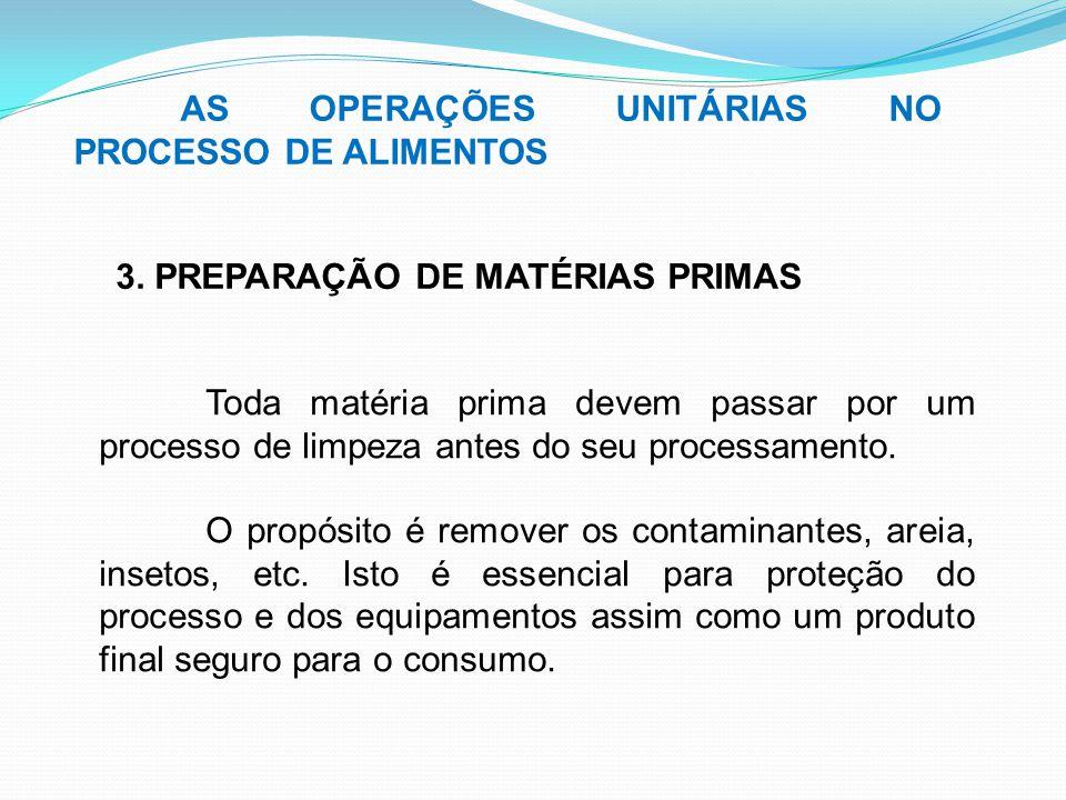 AS OPERAÇÕES UNITÁRIAS NO PROCESSO DE ALIMENTOS 3. PREPARAÇÃO DE MATÉRIAS PRIMAS Toda matéria prima devem passar por um processo de limpeza antes do s