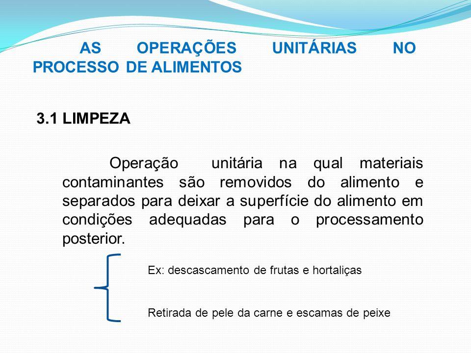 AS OPERAÇÕES UNITÁRIAS NO PROCESSO DE ALIMENTOS 3.1 LIMPEZA Operação unitária na qual materiais contaminantes são removidos do alimento e separados pa