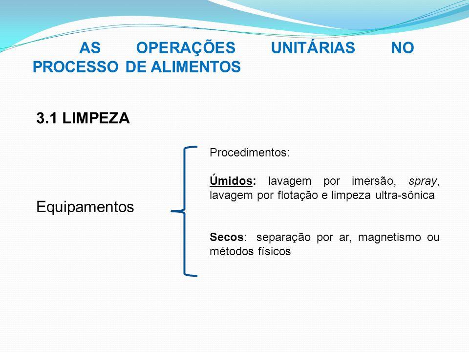 AS OPERAÇÕES UNITÁRIAS NO PROCESSO DE ALIMENTOS 3.1 LIMPEZA Equipamentos Procedimentos: Úmidos: lavagem por imersão, spray, lavagem por flotação e lim