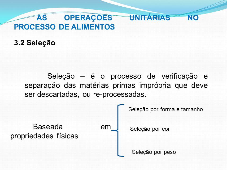 Seleção – é o processo de verificação e separação das matérias primas imprópria que deve ser descartadas, ou re-processadas. AS OPERAÇÕES UNITÁRIAS NO