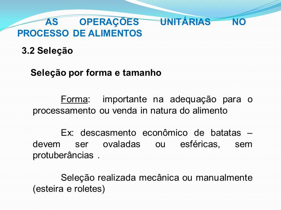 3.2 Seleção AS OPERAÇÕES UNITÁRIAS NO PROCESSO DE ALIMENTOS Seleção por forma e tamanho Forma: importante na adequação para o processamento ou venda i