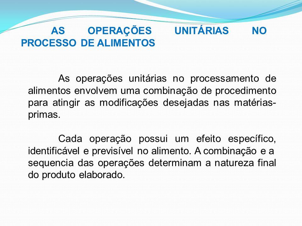 AS OPERAÇÕES UNITÁRIAS NO PROCESSO DE ALIMENTOS As operações unitárias no processamento de alimentos envolvem uma combinação de procedimento para atin